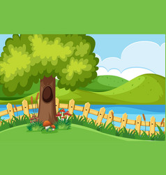 Park scene with river and mountains vector