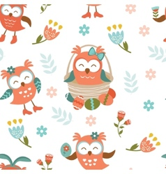 Pattern with Easter owls vector