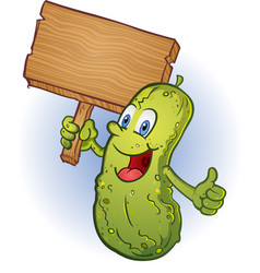 Pickle holding a sign cartoon character vector