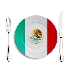 Plate with flag of Mexico vector