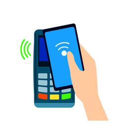 Pos terminal confirms the payment made through vector