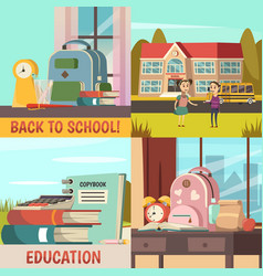 school orthogonal colored icon set vector image