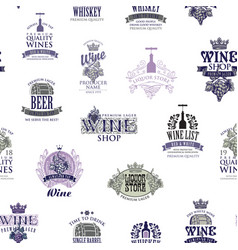 seamless pattern with alcohol logos and signs vector image
