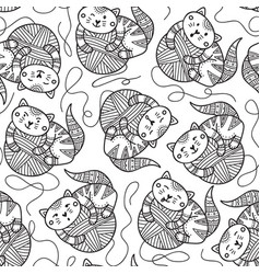 seamless pattern with cute cats and yarn balls vector image