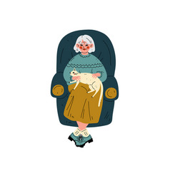 senior woman sitting in armchair with her cat old vector image