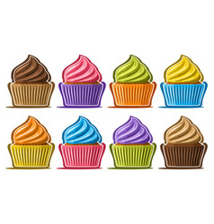 Set assorted cupcakes vector