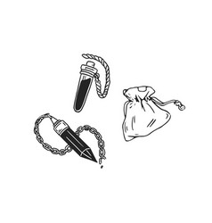 Set black and white crystal amulet corked tube vector