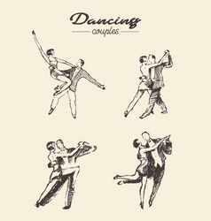 set dancing couples hand drawn sketch vector image vector image