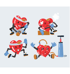 set heart characters vector image