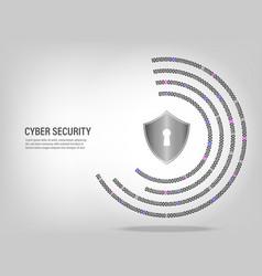shield on digital binary code circle background vector image