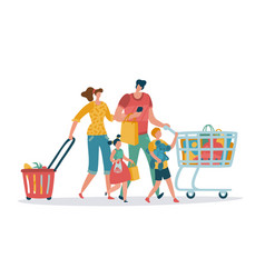 Shopping family mom dad kids shop basket cart vector
