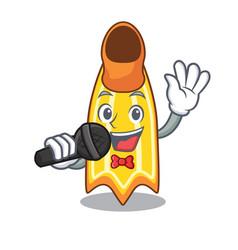 Singing swim fin mascot cartoon vector