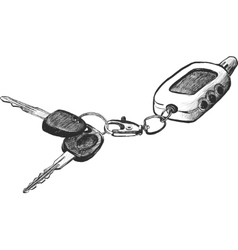 sketch of car keys with remote conntrole vector image