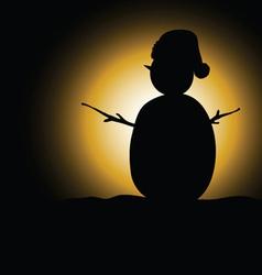 Snow man black silhouette vector
