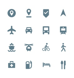 solid grey various map navigation icons set vector image