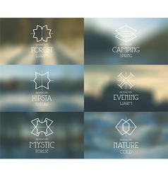 Spring forest blurred background and emblems vector