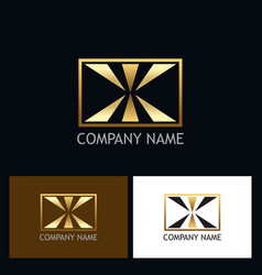 Square letter x gold logo vector