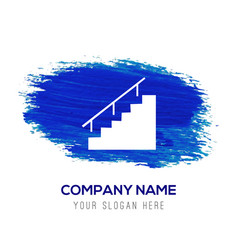 Stairs icon - blue watercolor background vector