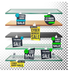 supermarket shelves cyber monday sale advertising vector image