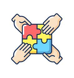 teamwork building rgb color icon vector image