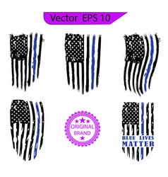 Thin blue line us flag police blue line vector