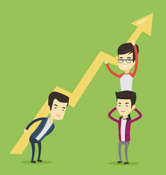 Three business men holding growth graph vector