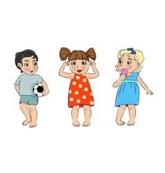 Three cartoon children vector