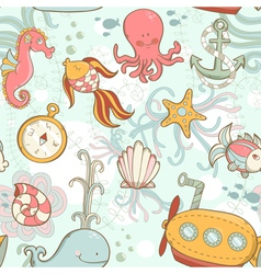 Underwater creatures cute cartoon seamless pattern vector image