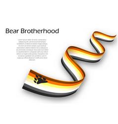 Waving ribbon or banner with bear brotherhood vector