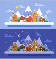 Winter nature Christmas time flat vector image