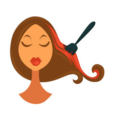 Woman dying hair vector