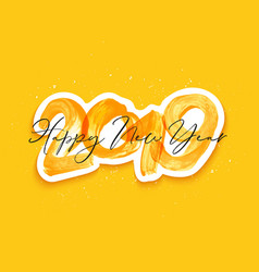 Yellow watercolor happy new year brush lettering vector