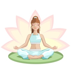 Yoga Beautiful girl meditating in lotus position vector