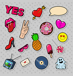 fashion badges patches stickers vector image vector image
