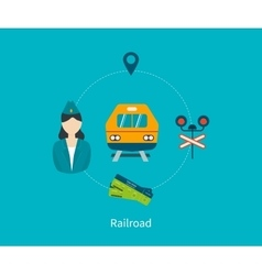 Railway station concept Train on railway vector image vector image