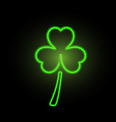 st patricks day clover neon lights vector image vector image