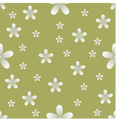 white flowers yellow background pattern seamless vector image vector image