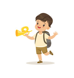 cute little boy in scout costume blowing horn vector image vector image