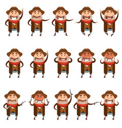 set of flat cowboy icons vector image