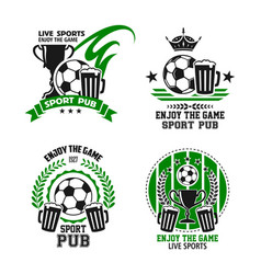 icons for soccer football sport pub vector image vector image
