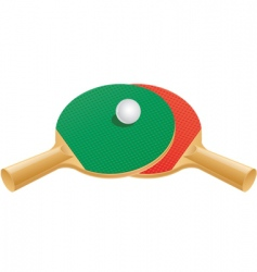 table tennis paddles and ball vector image