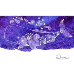 Watercolor Card Dreams with Beautiful Whale vector image