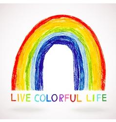 watercolor rainbow hand drawn with color pencils vector image vector image