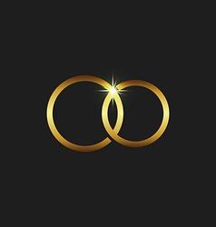 Wedding gold rings icon mockup invitations card vector image