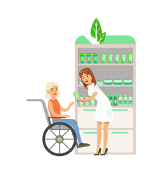 woman in wheelchair in pharmacy choosing and vector image vector image