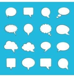 Blank empty white speech bubbles on blue vector image