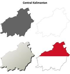 Central kalimantan blank outline map set vector