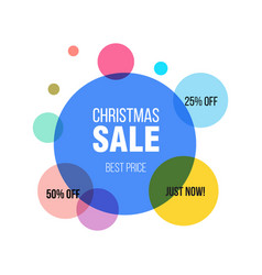 christmas sale circle banner poster special vector image
