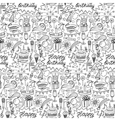 Happy birthday hand drawn seamless pattern vector image