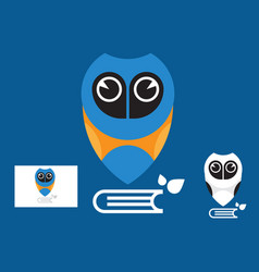 owl education logo with business card vector image